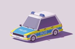 Vector low poly German police car. Vector low poly classic German police car Royalty Free Stock Photo
