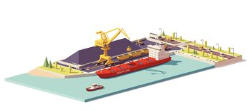 Vector low poly coal terminal and bulk carrier Royalty Free Stock Images