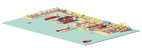 Vector low poly commercial port. Includes oil, coal, LNG, container terminals, dry dock, ships and industrial infrastructure elements Royalty Free Stock Photos