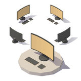 Vector low poly computer. Vector isometric low poly computer with curved screen 16 9. Vector low poly illustration Royalty Free Stock Photos