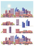 Vector low poly 2d buildings and city scene. Vector low poly buildings and city scene Stock Photo