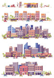 Vector low poly 2d city scenes Royalty Free Stock Photos