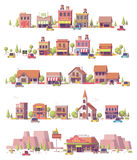 Vector low poly 2d small town scenes Royalty Free Stock Photo