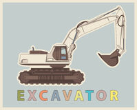 Vector low poly digger in retro style color. Vintage excavator. Royalty Free Stock Photography