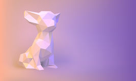 Vector Low-poly dog. Vector Low poly chihuahua dog white paper Royalty Free Stock Image