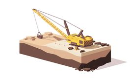 Vector low poly dragline excavator Royalty Free Stock Photo