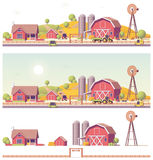 Vector low poly farm. With buildings and machinery Royalty Free Stock Photography