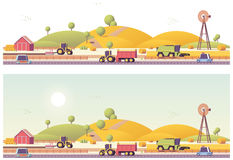 Vector low poly farm field works. Panorama Royalty Free Stock Photos