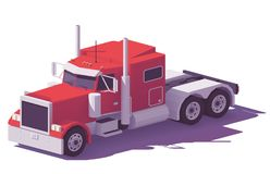 Vector low poly american classic truck Stock Photos
