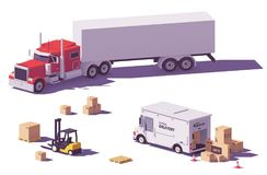 Vector low poly trucks and forklift Royalty Free Stock Photos