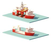 Vector low poly heavy lift ship and oil rig Stock Images