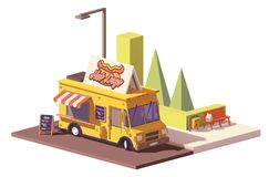 Vector low poly hot dog food truck Royalty Free Stock Photography