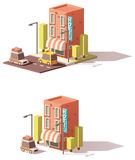 Vector low poly hotel icon. Taxicab and car loaded with suitcases vector illustration