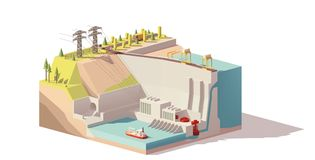 Vector low poly hydroelectric power station. Infrastructure. Includes river, dam and power lines Royalty Free Stock Image