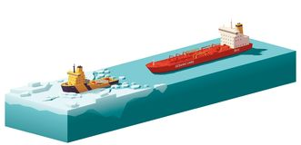 Vector low poly icebreaker breaking the ice. Vector low poly icebreaker breaking path through the ice in the ocean for tanker ship vector illustration