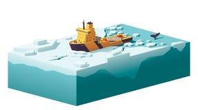 Vector low poly icebreaker breaking the ice. In the ocean vector illustration