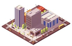 Vector low poly isometric city block Royalty Free Stock Photos