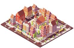 Vector low poly isometric old city center. With buildings, houses, stores and church royalty free illustration