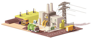 Vector low poly landfill gas collection plant Stock Images