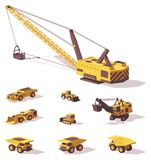 Vector low poly mining machines. Excavators, dragline, bulldozers, haul trucks Stock Photography