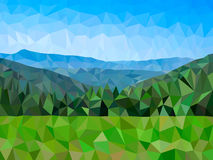 Vector low poly mountains. And forest Royalty Free Stock Photo