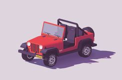 Vector low poly off-road 4x4 SUV car. With roof rack and offroading equipment stock illustration