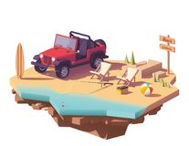 Vector low poly off-road vehicle on the beach stock illustration