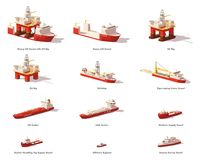 Vector low poly offshore oil exploration vessels. Vector low poly offshore vessels for Oil and Gas Exploration. Oil rig, pipe laying and support vessels, tanker Stock Photo
