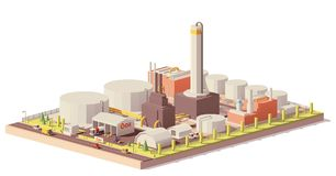 Vector low poly oil refinery plant. With tankers for crude oil, processing facilities and petroleum storage tanks royalty free illustration