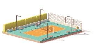 Vector low poly volleyball court Royalty Free Stock Image
