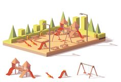 Vector low poly playground Stock Image