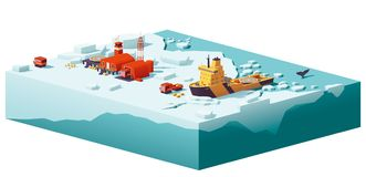 Vector low poly polar station and icebreaker. Vector low poly polar station with buildings, meteorological research measurement tower, vehicles, helipad and stock illustration