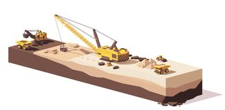 Vector low poly excavators and haul truck. Vector low poly power shovel excavator, dragline excavators and mining haul truck working at the quarry Royalty Free Stock Images