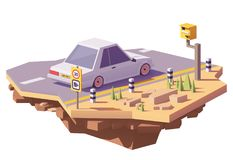 Vector low poly speed camera and a car royalty free illustration