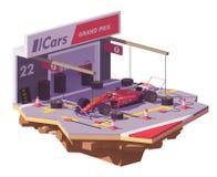 Vector low poly racing car and pit stop Stock Photos