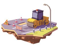Vector low poly road roller. Or asphalt compactor with road works signs repairing asphalt potholes on the road surface Royalty Free Stock Photography