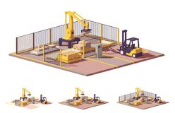 Vector low poly robotic palletizing cell vector illustration