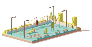 Vector low poly street fitness gym Stock Photos