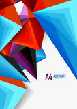 Vector low poly style 3d triangle line. A4 business or technology abstract template Royalty Free Stock Photo