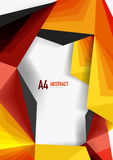 Vector low poly style 3d triangle line. A4 business or technology abstract template Royalty Free Stock Images