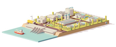 Vector low poly water treatment plant Royalty Free Stock Image
