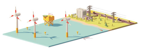 Vector low poly wind turbines power plant Royalty Free Stock Photos