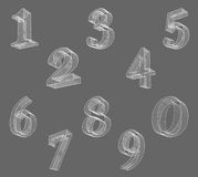 Vector low poly (wired) numbers font. Set Polygon number alphabet. Vector illustration. Stock Photography