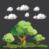 Vector low polygon trees on landscape. Vector graphic. Abstract polygon green trees. Dark background with clouds Royalty Free Stock Photo