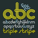 Vector lowercase funky disco alphabet letters, abc set. Trendy f. Ont, typescript for use in logo creation. Created using geometric triple stripes Stock Images