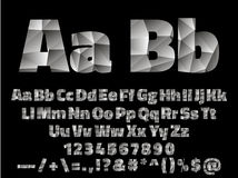 Vector Lowpoly Font alphabet with numbers and Stock Photo