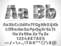 Vector Lowpoly Font alphabet with numbers and Royalty Free Stock Image