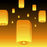 Vector Loy Krathong and sky lanterns Stock Photography