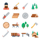 Vector lumberjack icons set in flat style. On white background. Tools and equipment of the lumberjack to tree cutting and harvest timbe. Icons of the wood Royalty Free Stock Photos
