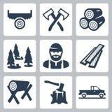 Vector lumberjack icons set Stock Photography